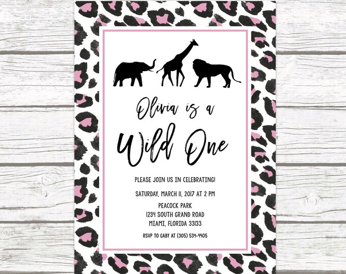 Wild One Birthday Invitation, Girl First 1st Birthday Invitation, Pink Leopard Animal Print, Safari Birthday Invite, Printable Invitation
