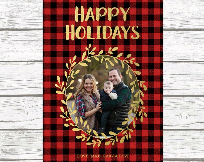 Red Buffalo Plaid Christmas Holiday Photo Card, Gold Foil Wreath Card, Personalized Printable Christmas Card, Printed Christmas Card