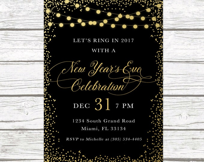 New Years Eve Invitation, New Year's Eve Party Invitation, Black and Gold Confetti New Years Invitation, Holiday Party Invitation