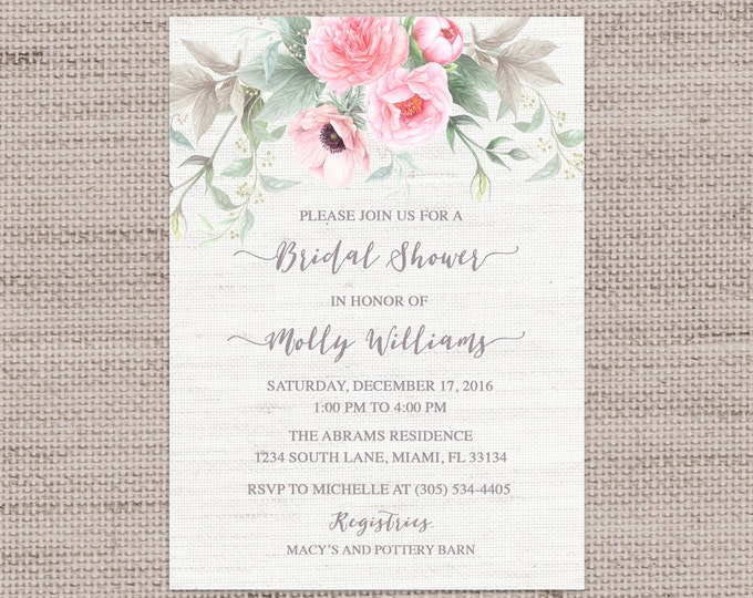 Pink Floral Bridal Shower Invitation, Pink and Gray Bridal Shower, Anemone Bridal Shower Invite, Peony Bridal Shower, Pink and Green Invite