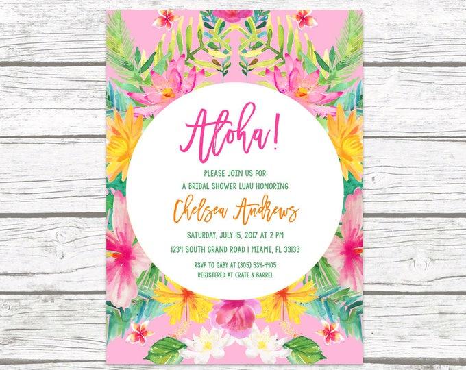 Tropical Bridal Shower Invitation, Luau Bridal Shower Invitation, Aloha Bridal Shower Invite, Tropical Wedding, Hawaiian Printable Invite