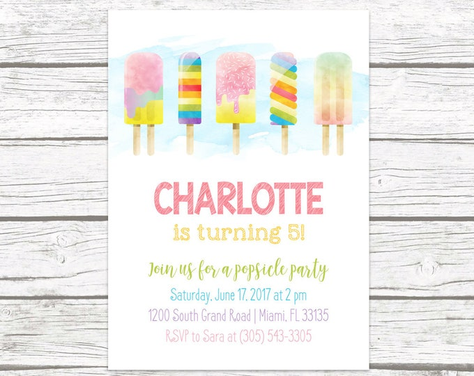 Popsicle Birthday Invitation, Popsicle Party Invitation, Birthday Invitation Girl, Watercolor Invitation, Summer Birthday Printable