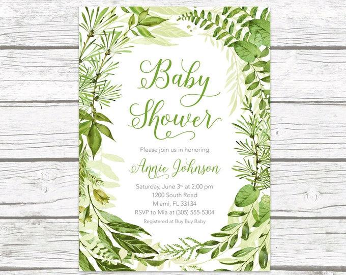 Green Baby Shower Invitation, Leaf Baby Shower Invitation, Garden Baby Shower Invite, Gender Neutral Baby Shower Invitation, Wreath Invite