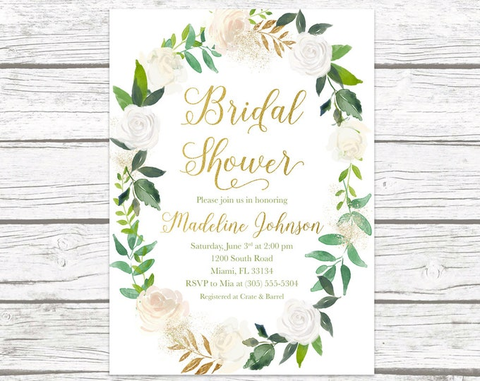 Bridal Shower Invitation, Bridal Shower Brunch Invitation, Bridal Brunch, Wreath Bridal Shower Invitation, Rustic Bridal Shower Invitation