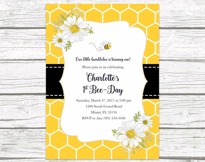 Bee Birthday Invitation, Bee Invitation, Bee-Day Invitation, Bee Birthday Party Invite, Honeycomb Invite, First 1st Birthday Invitation Girl