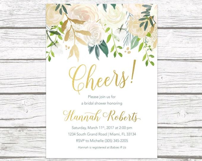 Bridal Shower Brunch Invitation, Cheers Bridal Shower Invitation, Bridal Brunch, White and Gold Invitation, Rustic Bridal Shower Invitation