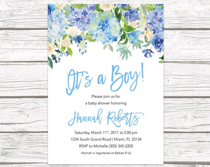 It's a Boy Baby Shower Invitation, Blue Baby Shower Invitation Boy, Garden Baby Shower Invite, Rustic Baby Shower, Printable Invitation