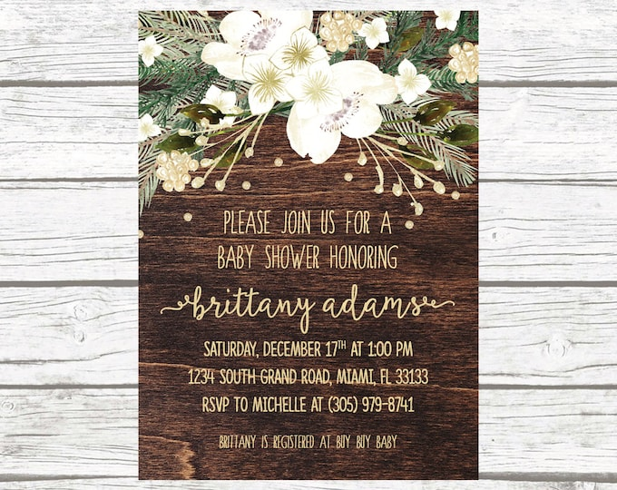 Winter White and Gold Foil Floral Wreath Baby Shower Invitation, Christmas Holiday Wood Rustic Invite, Boy Girl Printable Printed Invitation