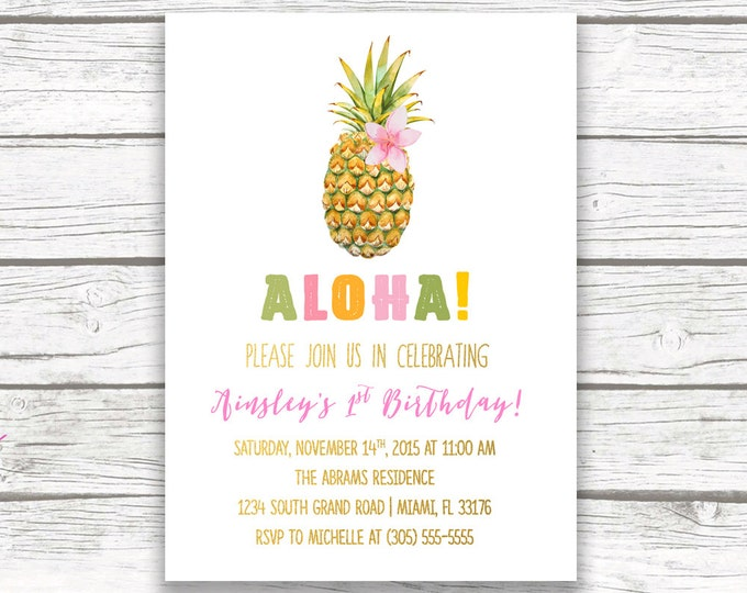 Pineapple Birthday Invitation, Luau Birthday Invitation, First 1st Birthday Invitation Girl, Tropical Birthday Invitation, Printable Invite