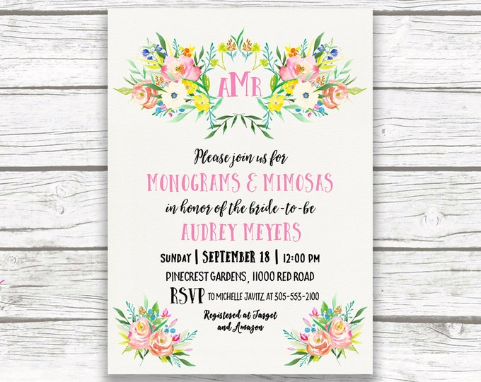 Monogram Bridal Shower Invitation, Monograms and Mimosas Bridal Shower Invite, Pink Preppy Bridal Shower, Spring Floral Printable Invitation