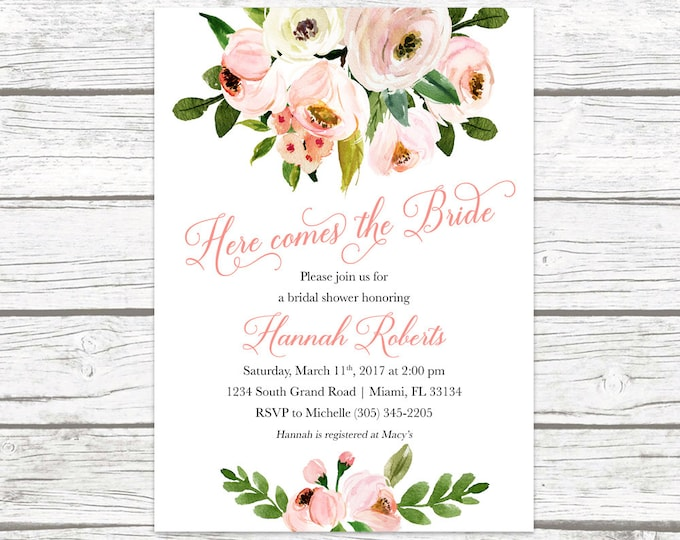 Rustic Bridal Shower Invitation, Garden Bridal Shower Invitation, Here Comes the Bride Invitation, Pink Floral Printable Invitation