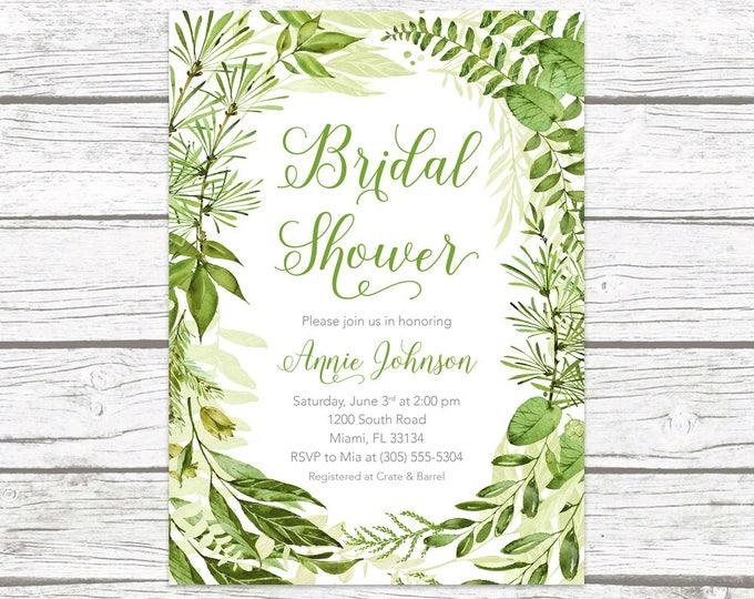 Green Bridal Shower Invitation, Leaf Bridal Shower Invitation, Garden Bridal Shower Invite, Greenery Invitation, Wreath Bridal Shower Invite