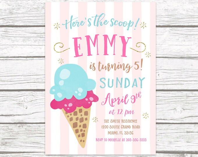 Ice Cream Birthday Invitation, Ice Cream Party Invitation, Watercolor Birthday Invite Girl, Sprinkle First 1st Birthday Party Printable