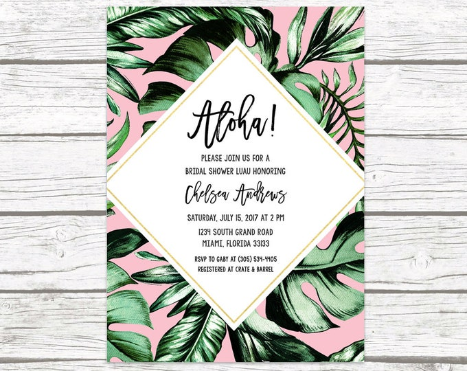 Luau Bridal Shower Invitation, Tropical Bridal Shower Invitation, Palm Tree Leaf Bridal Shower Invite, Tropical Wedding, Printable Invite