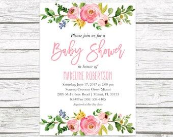 Baby Shower Invitation, Pink Floral Baby Shower Invitation, Garden Baby Shower Invite, Rustic Baby Shower, Girl Baby Shower Invitation