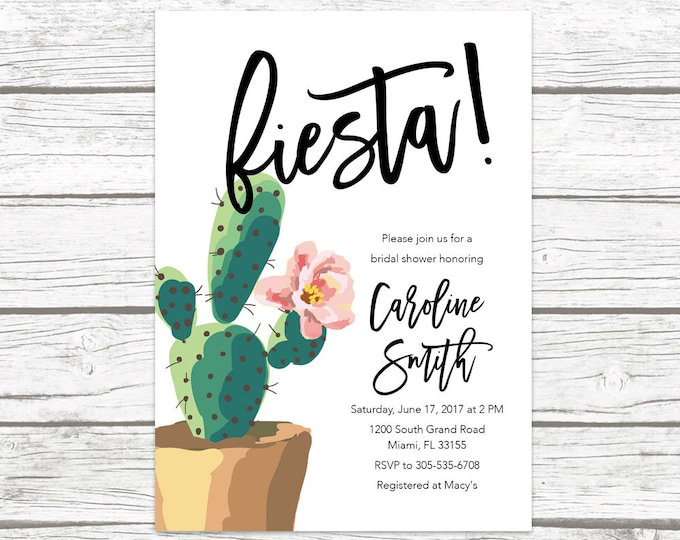 Fiesta Bridal Shower Invitation, Cactus Bridal Shower Invitation, Tropical Bridal Shower, Cinco de Mayo Invite, Mexican Wedding Printable