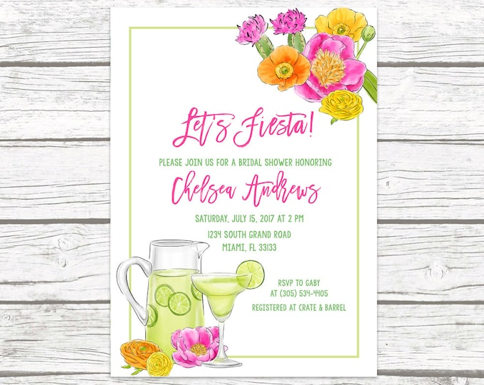 Fiesta Bridal Shower Invitation, Margarita Bridal Shower Invitation, Margaritas Bridal Shower, Let's Fiesta, Tropical Bridal Shower Invite