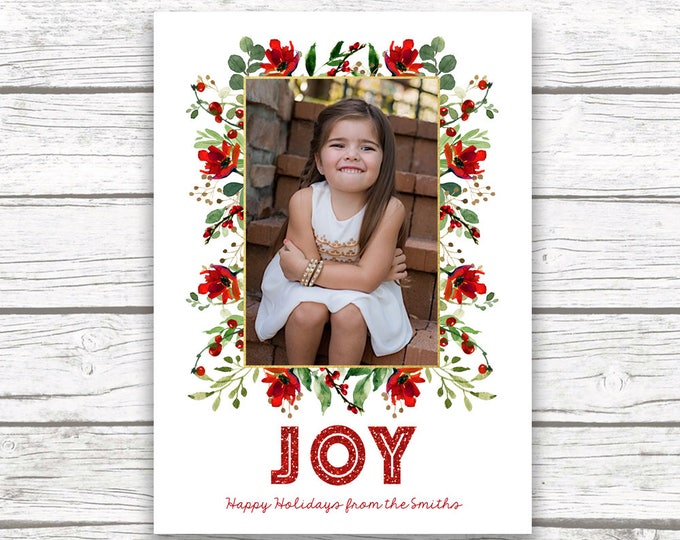 Christmas Photo Card, Floral Christmas Photo Card, Red Christmas Card, Holiday Photo Card, Christmas Picture Card, Holly Christmas Card