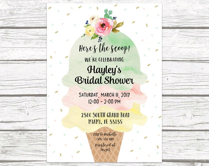 Ice Cream Bridal Shower Invitation, Ice Cream Social Invitation, Watercolor Bridal Shower Invite, Sprinkle Bridal Shower Printable