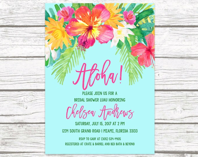 Luau Bridal Shower Invitation, Tropical Bridal Shower Invitation, Aloha Bridal Shower Invite, Tropical Wedding, Hawaiian Printable Invite