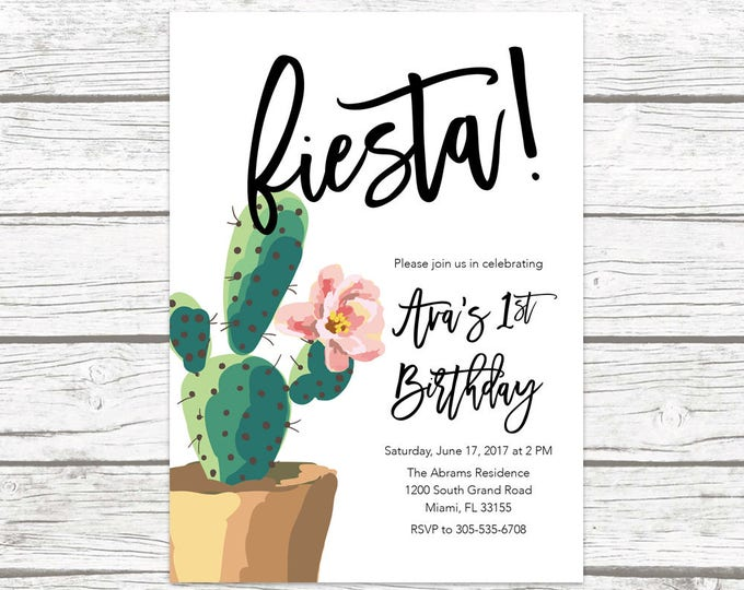 Fiesta Birthday Invitation, Cactus Birthday Party Invitation, Mexican Cinco de Mayo Invite, First Fiesta Birthday Invitation, Printable