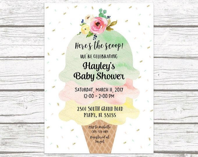 Ice Cream Baby Shower Invitation, Ice Cream Social Invitation, Watercolor Baby Shower Invite, Sprinkle Baby Shower Printable