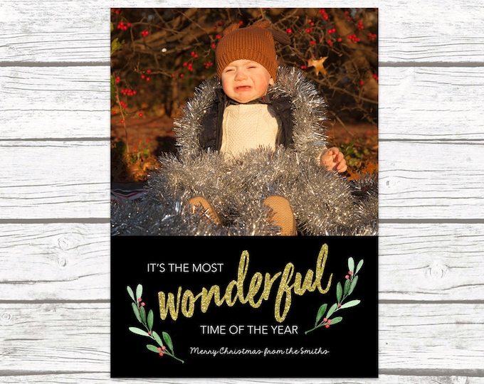 Christmas Photo Card, It's the Most Wonderful Time of the Year Christmas Photo Card, Holly Christmas Card, Holiday Photo Card