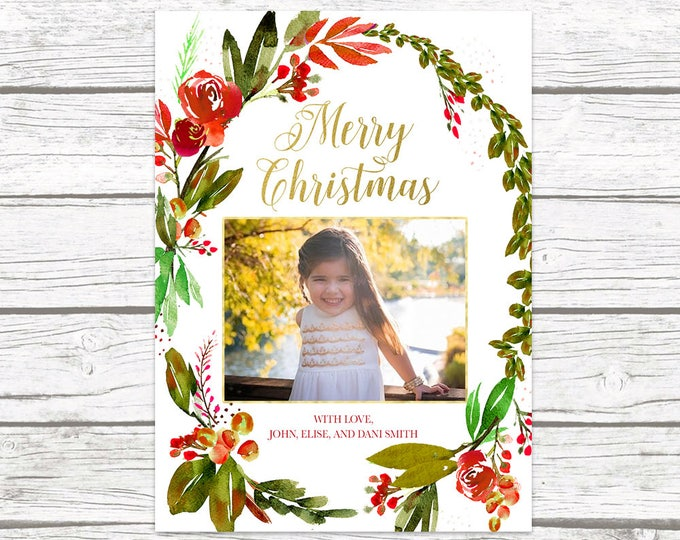Floral Christmas Card, Christmas Photo Card, Wreath Christmas Card, Holiday Photo Card, Christmas Picture Card, Holly Christmas Card