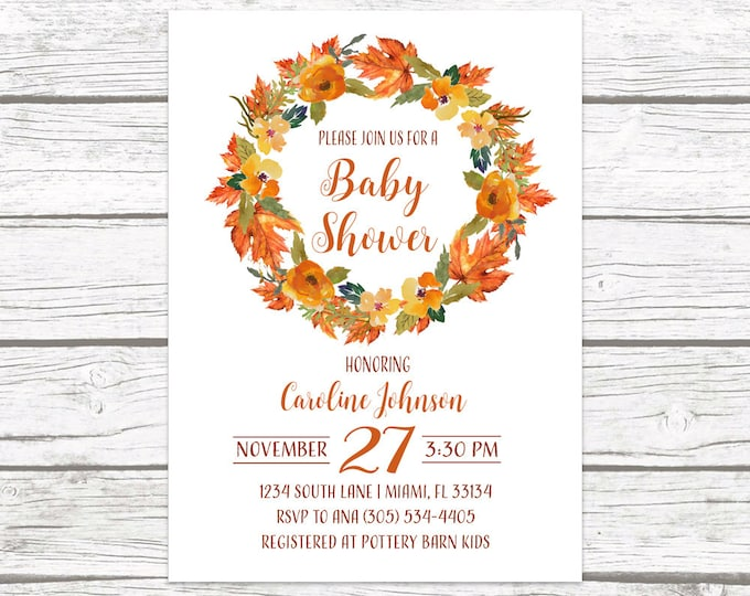 Fall Baby Shower Invitation, Leaves Baby Shower Invitation, Autumn Baby Shower, Gender Neutral Baby Shower, Rustic Shower Printable Invite