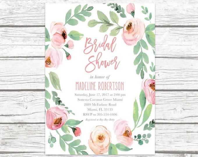 Bridal Shower Invitation, Garden Bridal Shower Invitation, Pink Floral Bridal Shower, Rustic Bridal Shower Invitation, Printable Invite