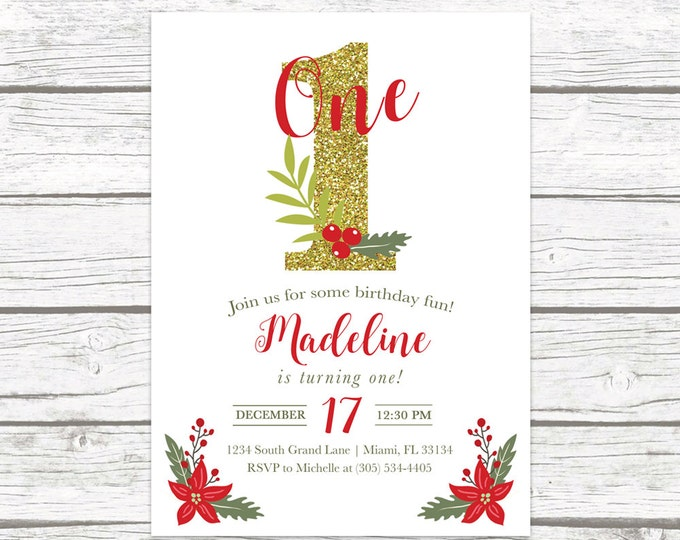 Christmas Birthday Invitation, Christmas First Birthday Invitation, Girl 1st Birthday, Holly Birthday Party Invitation, Birthday Invite
