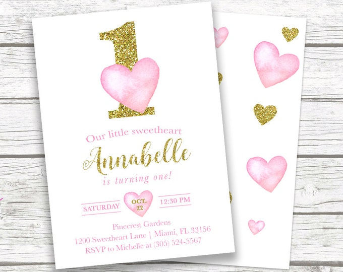 Valentines Day Birthday Invitation, Heart Birthday Invitation, Pink and Gold First Birthday Girl, Watercolor Hearts Printable Invite