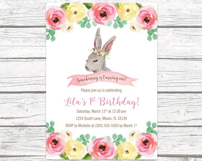Bunny Birthday Invitation, Somebunny is One Birthday Invitation, First 1st Birthday Invitation Girl, Easter Birthday Invitation Printable