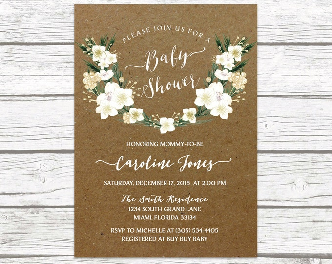 Kraft Winter White and Gold Floral Wreath Baby Shower Invitation, Christmas Holiday Rustic Invite, Boy Girl Printable Printed Invitation