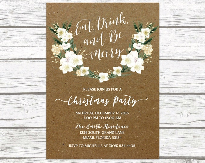 Eat Drink and Be Merry Invitation, Rustic Christmas Party Invitation, Kraft Holiday Party Invitation, Winter White and Gold Invitation