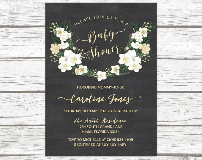 Winter Baby Shower Invitation, Gender Neutral Baby Shower Invitation, Chalkboard Christmas Baby Shower Invitation, Rustic Baby Shower Invite