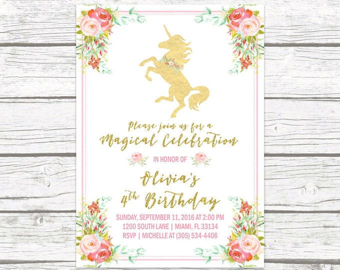 Unicorn Invitation, Unicorn Birthday Invitation, Unicorn Party Invitation, Girl 1st First Birthday Party Invitation, Pink and Gold Printable