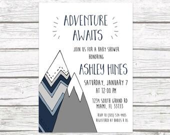 Adventure Baby Shower Invitation, Mountain Baby Shower Invite, The Adventure Begins, Adventure Awaits Boy Tribal Baby Shower Printable