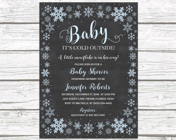 Winter Wonderland Baby Shower Invitation, Baby It's Cold Outside Baby Shower Invitation Boy, Snowflake Baby Shower Invitation, Chalkboard
