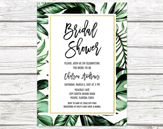 Tropical Bridal Shower Invitation, Tropical Invitation, Palm Tree Leaf Bridal Shower Invite, Tropical Wedding, Printable Wedding Invitation