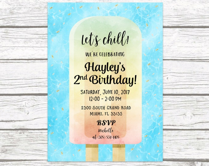 Popsicle Birthday Invitation, Popsicle Party Invitation, Watercolor Birthday Invite Girl, Pool Party Invitation Printable