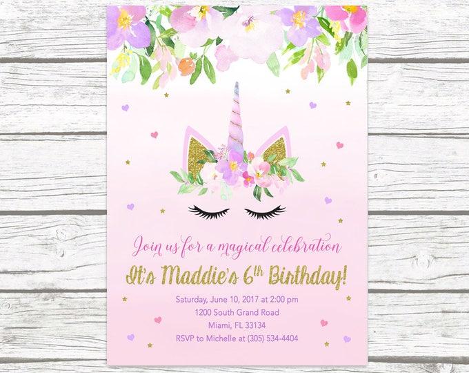 Unicorn Invitation, Unicorn Birthday Invitation, Unicorn Face Invitation, Girl 1st First Birthday Party Invitation, Pink and Gold Invite