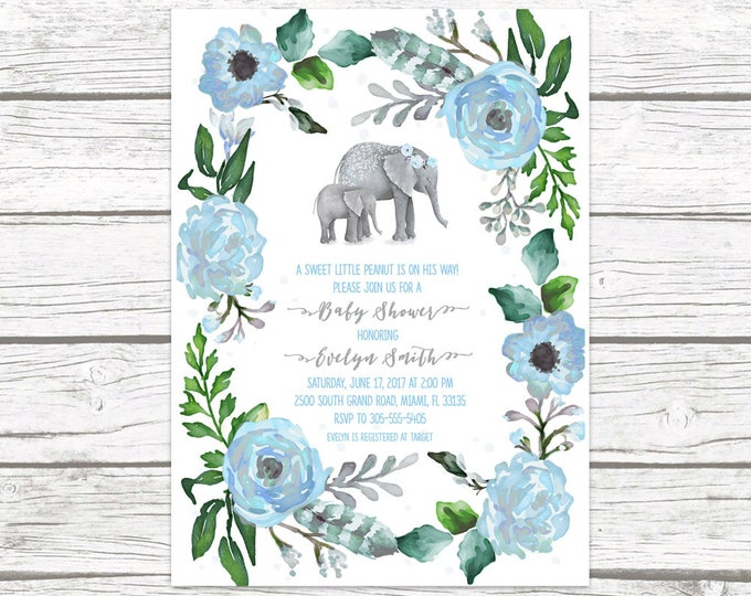 Elephant Baby Shower Invitation Boy, Elephant Invitation, Boho Baby Shower, Boy Baby Shower Invite, Little Peanut Printable Invitation