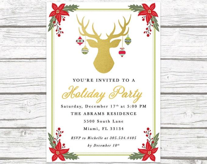 Christmas Party Invitation, Reindeer Christmas Party Invitation, Holiday Party Invitation, Antler Holiday Party Invite, Holly Invitation