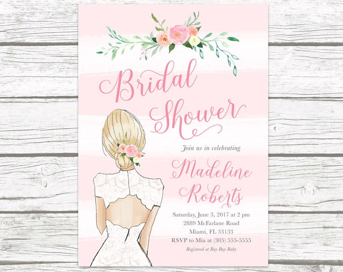 Bridal Shower Invitation, Wedding Dress Invitation, Floral Bridal Shower Invitation, Pink Bridal Shower Invite, Watercolor Bridal Shower