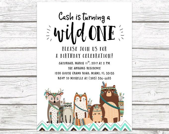 Wild One Birthday Invitation, Woodland Birthday Invitation, Tribal Birthday Invitation, First 1st Birthday Invitation, Printable Invite