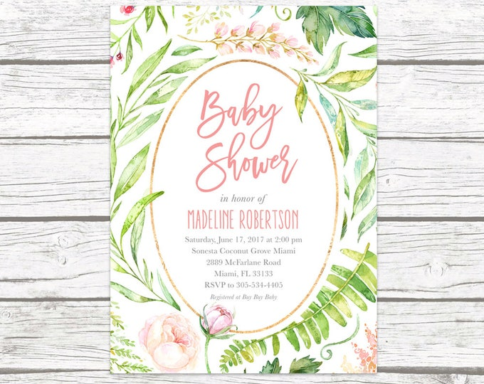 Baby Shower Invitation, Pink Floral Baby Shower Invitation, Garden Baby Shower Invite, Rustic Baby Shower, Leaf Baby Shower Invitation