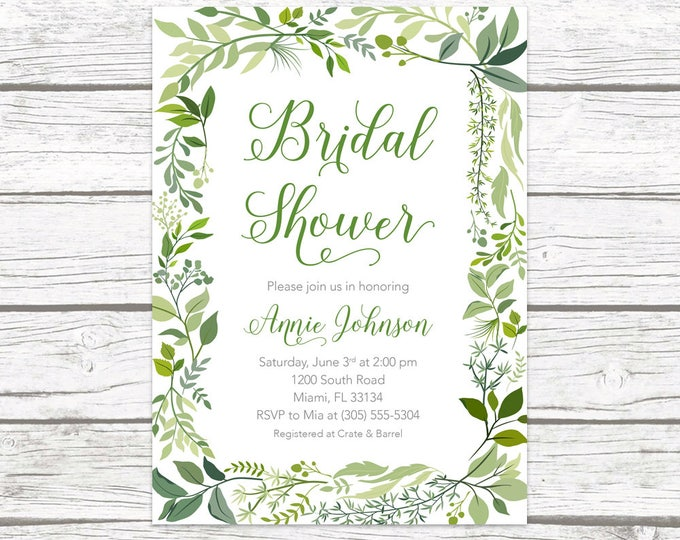 Green Bridal Shower Invitation, Leaf Bridal Shower Invitation, Garden Bridal Shower Invite, Greenery Invitation, Wreath Bridal Shower Invite