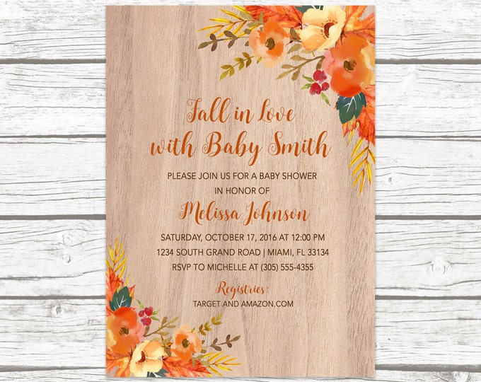 Fall in Love Baby Shower Invitation, Fall Baby Shower Invitation, Gender Neutral Invitation, Leaves Baby Shower Invitation, Rustic Invite