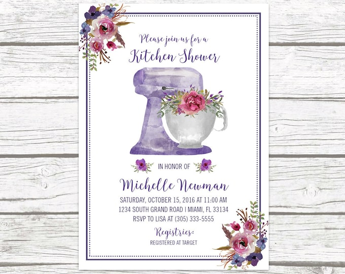 Kitchen Bridal Shower Invitation, Purple Bridal Shower Invitation, Floral Wedding Shower Invite, Watercolor Stand Mixer Printable Invitation